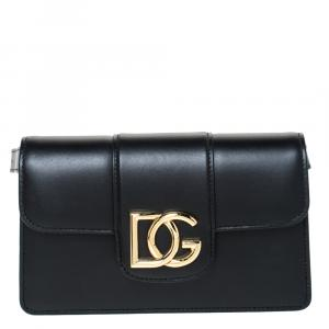 Dolce & Gabbana Black Leather DG Millenials Belt Bag