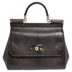 Dolce & Gabbana Dark Grey Iguana Embossed Leather Crystal DG Logo Medium Miss Sicily Bag
