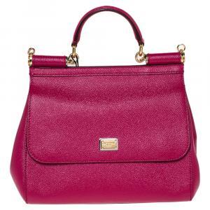 Dolce & Gabbana Fuchsia Leather Medium Miss Sicily Bag