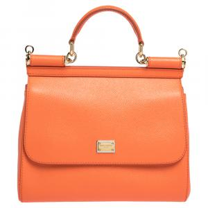 Dolce & Gabbana Orange Leather Medium Miss Sicily Bag