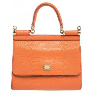 Dolce & Gabbana Orange Iguana Embossed Leather Small Miss Sicily Bag
