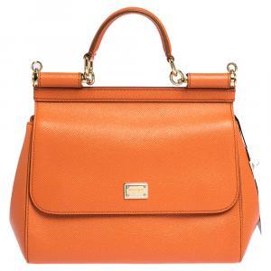 Dolce & Gabbana Orange Leather Small Miss Sicily Bag