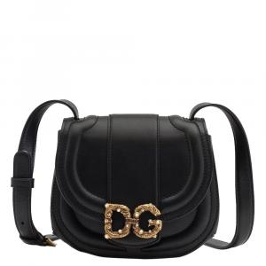 Dolce & Gabbana Black Leather Amore Mini Bag Shoulder Bag