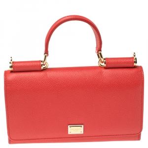 Dolce & Gabbana Red Leather Miss Sicily Von Bag