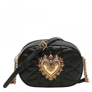 Dolce & Gabbana Black Leather Devotion Oval Camera Bag