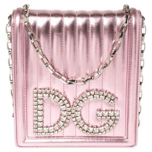 Dolce & Gabbana Metallic Pink Quilted Leather DG Girls Shoulder Bag