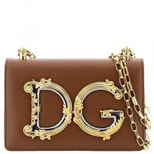 Dolce & Gabbana Brown Leather DG Girls Bag