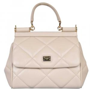 Dolce & Gabbana White Quilted Leather Sicily Small Bag