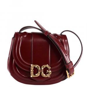 Dolce & Gabbana Bordeaux Leather Dg Amore Bag Mini Bag