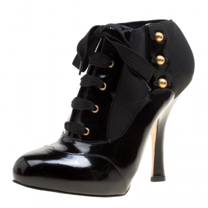 Dolce & Gabbana Black Leather/Stretch Fabric Stud Detail Lace Up Ankle Booties Size 38.5 -