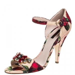 Dolce & Gabbana Multicolor Floral Brocade Keira Ankle Strap Sandals Size 40 -