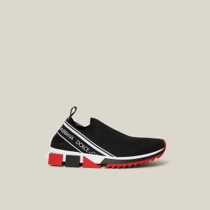 Dolce & Gabbana Black Slip On Logo Print Mesh Sneakers Size IT 37