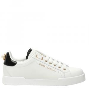 Dolce & Gabbana White Portofino Leather Pearl Sneakers Size 36