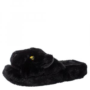 Dolce and Gabbana Black Faux Fur Panther Plush Flat Slides Size 40