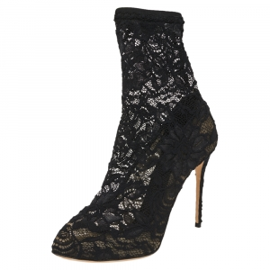 Dolce & Gabbana Black Stretch Lace Pointed Toe Ankle Booties Size 40.5 - used