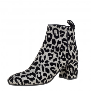 Dolce & Gabbana Gold/Silver Animal Print Lurex Fabric Boots Size 38.5 - used