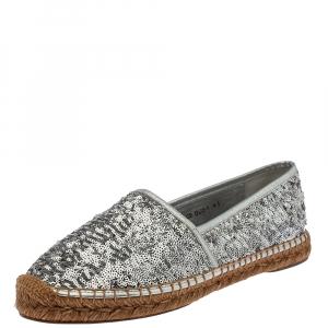 Dolce & Gabbana Silver Sequin On Flat Espadrilles Size 41