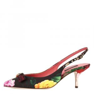 Dolce & Gabbana Multicolor Patchwork fabric Slingback Pumps Size 38
