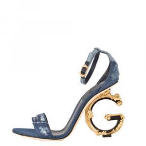 Dolce & Gabbana Blue Patchwork Denim Barocco-Heel Sandals Size 38