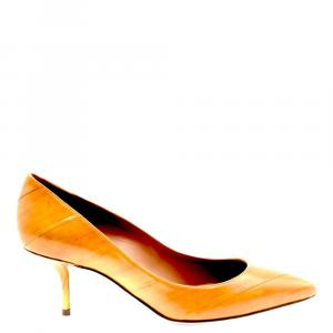 Dolce & Gabbana Brown Eel Skin Leather Pumps Size EU 37