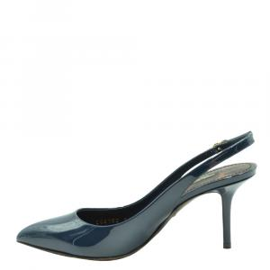 Dolce and Gabbana Blue Patent Leather Slingback Sandals Size EU 36