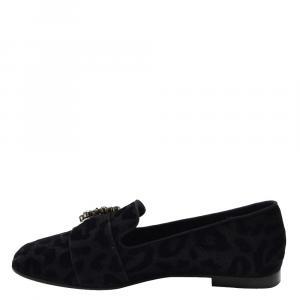 Dolce & Gabbana Black Velvet Leopard Print Jackie Loafers Size EU 37.5