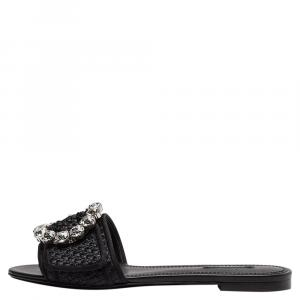 Dolce & Gabbana Black Woven Raffia Crystal Embellished Flat Slides Size EU 37