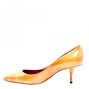 Dolce & Gabbana Brown Eel Skin Leather Pointed Toe Pumps Size 36