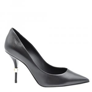 Dolce & Gabbana Black Young Goatskin DG logo Pointed Toe Pumps Size 36.5