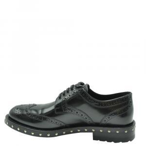 Dolce & Gabbana Black Leather Detail Derby Shoes Size EU 37.5