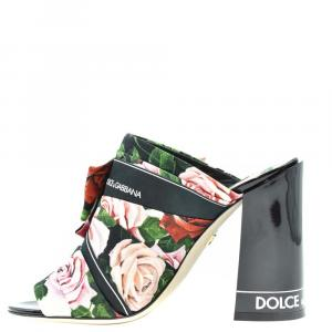 Dolce & Gabbana Multicolor Floral Print Block Heel Mules Size EU 39