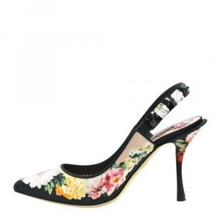 حذاء كعب عالي دولتشي أند غابانا مورد متعدد الألوان بحزام للكاحل مقاس أوروبي 38.5