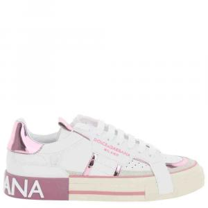 Dolce & Gabbana White/Pink Calfskin 2Zero Custom Sneakers Size IT 37