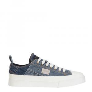 Dolce & Gabbana Blue Patchwork Denim Portofino Sneakers Size EU 37.5
