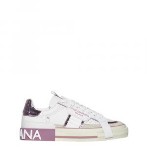 Dolce & Gabbana White/Pink 2.Zero Sneakers Size EU 38