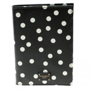 Dolce and Gabbana Black Polka Dot Leather Passport Holder