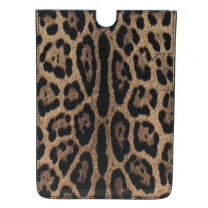 Dolce and Gabbana Brown Leopard Print PVC iPad Case
