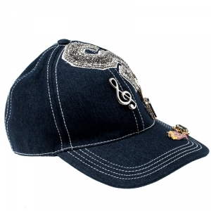 Dolce and Gabbana Indigo Denim Embellished Baseball Cap Size 59