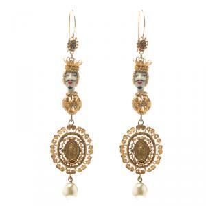 Dolce and Gabbana Marionette Ornate Gold Tone Filigree Long Hook Earrings