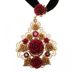 Dolce and Gabbana Rose Filigree Gold Tone Pendant Choker Necklace