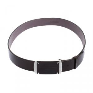 Dolce and Gabbana Brown Leather Logo Plaque Belt 95 CM