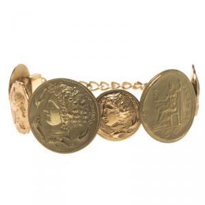 Dolce and Gabbana Monete Sicily Coin Gold Tone Bracelet