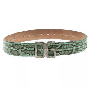 Dolce and Gabbana Green Snake Skin Crystal Embellished DG Buckle Belt 90cm