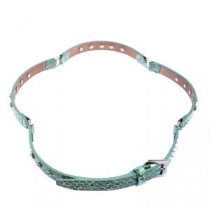Dolce and Gabbana Green Snake Skin Crystal Embellished Skinny Belt 75cm