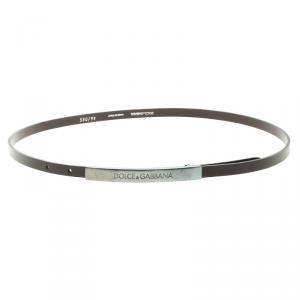 Dolce and Gabbana Dark Brown Leather Skinny Buckle Belt 85cm
