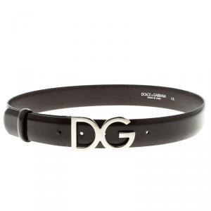 Dolce and Gabbana Dark Brown Glossy Leather DG Logo Buckle Belt 85cm