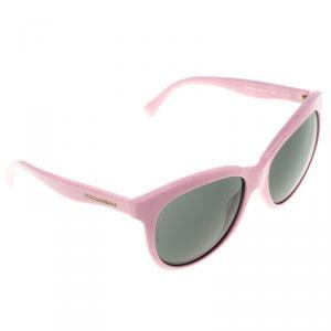 Dolce and Gabbana Black Pink Matt Silk Powder DG4149  Round Sunglasses