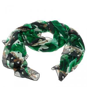 Dolce and Gabbana Banana Leaf Print Crinkled Silk Chiffon Scarf