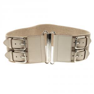 Dolce and Gabbana Beige Canvas Elastic Waist Belt 75cm