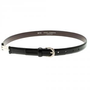 Dolce and Gabbana Black Leather Skinny Belt 80cm